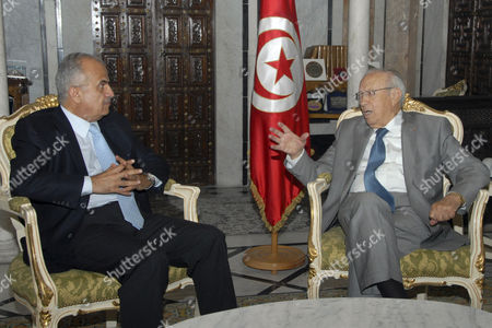 Stock Picture of Abdelilah Al Khatib, Beji Caid Essebsi UN special envoy on Libya Abdelilah Al Khatib, left, listens to Tunisian Prime Minister Beji Caid Essebsi, right, during their meeting at the Kasbah Government Palace in Tunis