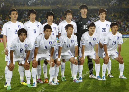 South Korea soccer players pose for a team photo before the start of a U-20 World Cup soccer match against Mali in Bogota, Colombia, . In top row, from left; Rim Chang Woo, Choi Sung Guen, Yun Il Lok, Lee Yong Jae, Yang Han Been and Jang Hyun Soo. In bottom row, from left; Baek Sung Dong, Hwang Do Yeon, Kim Kyung Jung, Kim Young Uk and Lee Ki Je