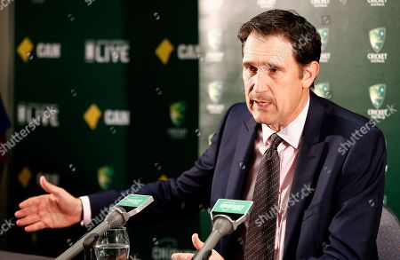 """Cricket Australia CEO James Sutherland answers questions during a press conference after New South Wales state coroner Michael Barnes handed down his findings for the Hughes inquest in Perth, Australia, . A coroner has found that a """"minuscule misjudgment"""" by Phillip Hughes while facing a steeply bouncing cricket ball resulted in the fatal blow to his head during an Australian domestic first-class match in November 2014. Barnes made four key recommendations, including directions to Cricket Australia to review its dangerous and unfair bowling regulations to reduce any inconsistencies in interpretation by umpires, and to identify a helmet neck protector and make it mandatory for batsmen in first-class matches"""