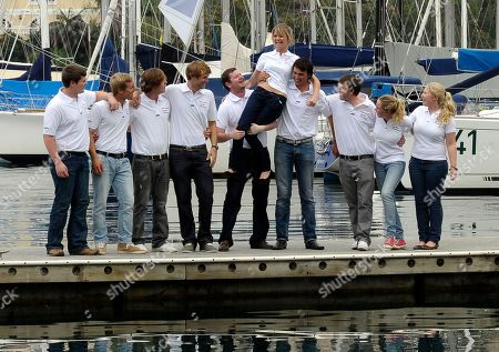 Jessica Watson Teenage round-the-world sailor Jessica Watson, center, is hoisted up by her new challenge 2011 Sydney to Hobart yacht race crew in Sydney, Australia . Watson will skipper the youngest crew ever to compete in the annual Sydney to Hobart yacht race in December