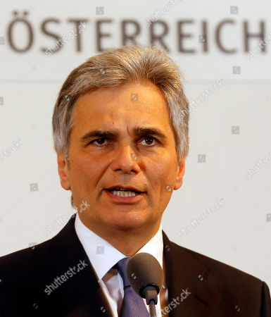 "Werner Faymann Austrian Chancellor Werner Faymann of the Social Democrats speaks during a news conference at the federal chancellery in Vienna, Austria, on after the resignation of Vice Chancellor and Finance Minister Josef Proell. Faymann thanked him for ""exceptionally good teamwork"" and said he was sorry to see him go. Proell suffered a pulmonary embolism last month while skiing and has been in rehab ever since"