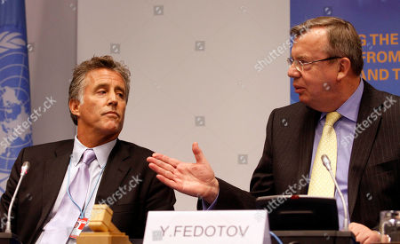 Yury Fedotov, Christopher Kennedy Lawford Executive Director from United Nations Office on Drugs and Crime, UNODC, Yury Fedotov, right, introducing U.S. actor Christopher Kennedy Lawford, left, as goodwill ambassador on drug dependence treatment and care at the International Center, in Vienna, Austria