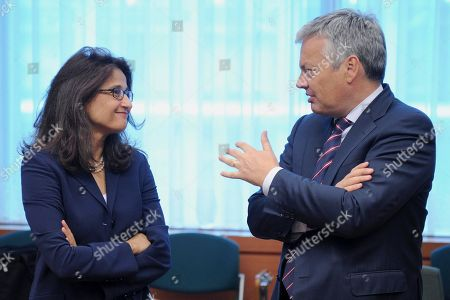 Nemat Shafik, Didier Reynders International Monetary Fund Deputy Managing Director Nemat Shafik, left, talks with Belgium's Finance Minister Didier Reynders at the start of an Eurogroup meeting at the EU Council in Brussels, . European finance ministers are meeting over the coming two days in Brussels, with Portugal and Greece topping the agenda. Shafik, who oversees IMF work in several EU countries takes IMF's Magaging Director Dominique Strauss-Kahn's place at the Brussels get-together