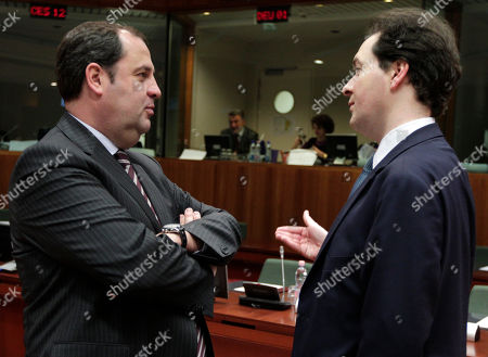 George Osborne, Josef Proell British Chancellor of the Exchequer George Osborne, right, talks with Austrian Finance Minister Josef Proell, prior to the start of the Ecofin meeting, at the European Council building in Brussels