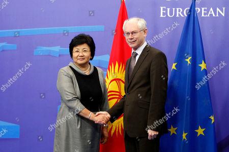 Stock Photo of Herman Van Rompuy, Roza Otunbaeva European Council President Herman Van Rompuy, right, welcomes Kyrgyz President Roza Otunbaeva at the European Council building in Brussels