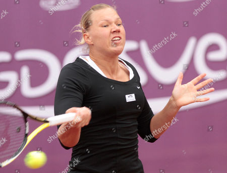 Kaia Kanepi Estonia's Kaia Kanepi returns the ball towards Poland's Marta Domachowska during the first round of the Brussels Open tennis tournament in Brussels