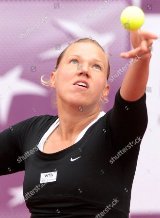 Kaia Kanepi Estonia's Kaia Kanepi serves the ball towards Poland's Marta Domachowska during the first round of the Brussels Open tennis tournament in Brussels