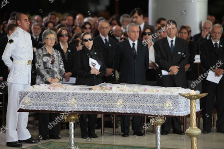 The body of Brazil's former Vice President Jose Alencar lies during his wake at Planalto Palace in Brasilia, Brazil, . Alencar, who served two terms under former President Luiz Inacio Lula da Silva, died Tuesday afternoon in a Sao Paulo hospital after fighting abdominal cancer since 1997. He was 79