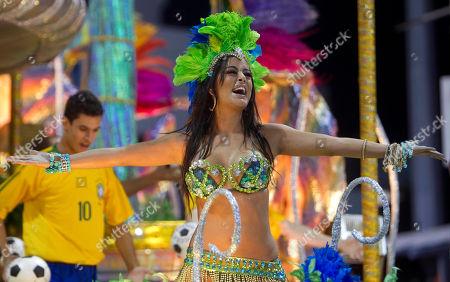 Larissa Riquelme Lingerie model Larissa Riquelme of Paraguay performs on a Vila Maria samba school float during carnival celebrations in Sao Paulo, Brazil