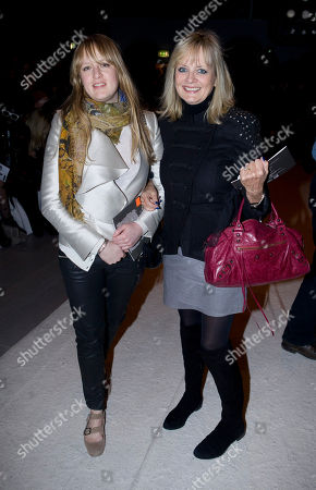 Twiggy Lawson, Carly Lawson British model Twiggy, right, and her daughter Carly arrive to watch models presenting outfits by Bora Aksu at London Fashion Week in London