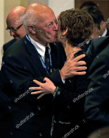 Chantal Jouanno, George Barbaret George Barbaret, left, kisses the French Minister of Sport Chantal Jouanno at the Wentworth Club, Virginia Water, England, after the announcement of the venue for the 2018 Ryder Cup. France will host the Ryder Cup for the first time in 2018 on Le Golf National course near Paris. The French bid beat off competition from rival candidates Spain, Portugal, Germany and the Netherlands on Tuesday