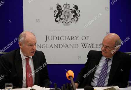 Igor Judge, David Neuberger Britain's Lord Chief Justice Igor Judge, right, listens as Lord David Neuberger, left, the Master of the Rolls, answers a reporter's question during a joint news conference at the Royal Court of Justice, in central London, . Judge, the top judge in England and Wales said Friday, that members of Parliament should think carefully about using their position to circumvent court orders restraining media, introducing a lengthy review of privacy legislation and the use of court orders to silence news reporting