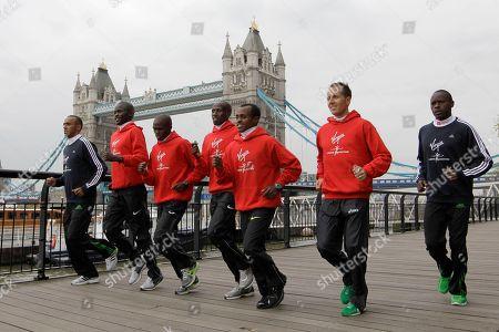 Abel Kirui, Jaouad Gharib, Tsegaye Kebede, Viktor Roethlin, James Kwambai, Patrick Makau, Martin Lel London Marathon elite men competitors, from left, Morocco's Jaouad Gharib, Kenya's Abel Kirui, Kenya's James Kwambai, Kenya's Martin Lel, Ethiopia's Tsegaye Kebede, Switzerland's Viktor Roethlin and Kenya's Patrick Makau pose for photographs in front of Tower Bridge in London, . The London Marathon take place on Sunday April 17