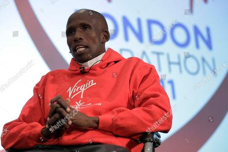 Martin Lel London Marathon elite men competitor Kenya's Martin Lel speaks to the media during a press conference in London, . The London Marathon take place on Sunday April 17