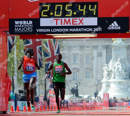 Martin Lel, Patrick Makau Kenya's Martin Lel, left, takes second place as he comes in to beat Kenya's Patrick Makau into third place in the London Marathon, London, . Buckingham Palace seen behind