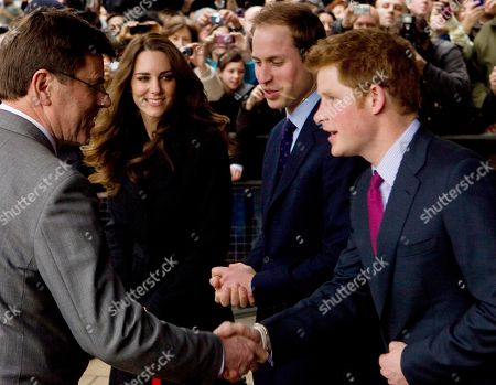 Prince William, Kate Middleton Britain's Prince William, and his fiancee Kate Middleton watch as Prince Harry shakes hands with New Zealand High Comissioner Derek Leask, as they depart New Zealand House in London, after signing a book of condolences for victims of the New Zealand earthquake