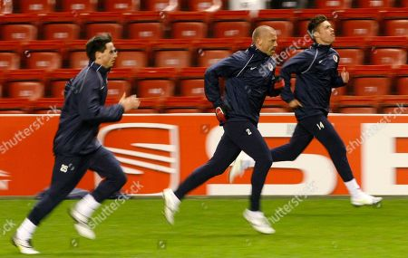 Tomas Repka Sparta Prague's Tomas Repka, center, warms up with fellow team members during a training session at Anfield, Liverpool, England, . Sparta Prague will play Liverpool in the second leg of their round of 32 Europa League soccer match on Thursday