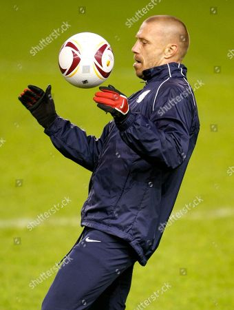 Tomas Repka Sparta Prague's Tomas Repka controls the ball during a training session at Anfield, Liverpool, England, . Sparta Prague will play Liverpool in the second leg of their round of 32 Europa League soccer match on Thursday