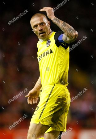 Stock Image of Tomas Repka Sparta Prague's Tomas Repka reacts during the second leg of their round of 32 Europa League soccer match against Liverpool at Anfield, Liverpool, England