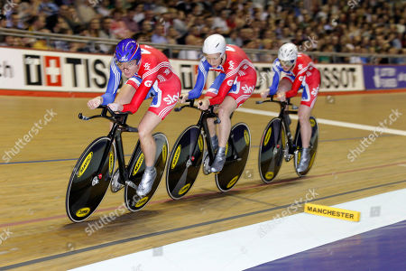 Britain's Sarah Storey, left, leads teammates Wendy Houvenaghel, centre, and Joanna Roswell around the track on their way to victory in the Women's Team Pursuit competition during the Track Cycling World Cup at the National Cycling Centre, Manchester, England
