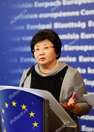Stock Image of Roza Otunbaeva Kyrgyz President Roza Otunbaeva participates in a media conference at the EU headquarters in Brussels