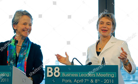 Laurence Parisot, Helen Alexander Head of MEDEF, Laurence Parisot, right, of France, gestures with Helen Alexander of Britain, President of the CBI (Confederation of British Industry), during a meeting at the MEDEF, employers' union, of the B8 Business Leaders Meeting, in Paris