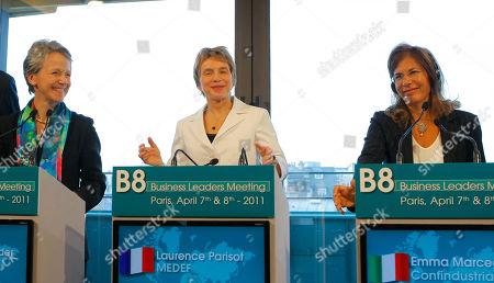 Emma Marcegaglia, Laurence Parisot, Helen Alexander Italian Emma Marcegaglia president of Confindustria, Industrialists and businessmen association, right, and French head of MEDEF, Laurence Parisot, center, with British Helen Alexander President of the CBI (Confederation of British Industry) as they address the media during a meeting at the MEDEF, employers' union, of the B8 Business Leaders Meeting on in Paris