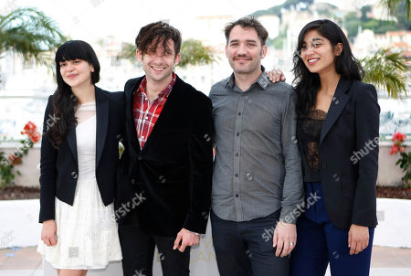 Stock Picture of Nathalia Galgani, Diego Noguera, Cristian Jimenezl, Gabriela Arancibia Director Cristian Jimenez, second from right, with actors, from left, Nathalia Galgani, Diego Noguera and Gabriela Arancibia pose during a photo call for Bonsai at the 64th international film festival, in Cannes, southern France