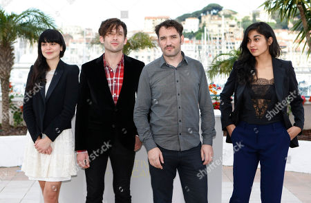 Nathalia Galgani, Diego Noguera, Cristian Jimenezl, Gabriela Arancibia Director Cristian Jimenez, second from right, with actors, from left, Nathalia Galgani, Diego Noguera and Gabriela Arancibia pose during a photo call for Bonsai at the 64th international film festival, in Cannes, southern France