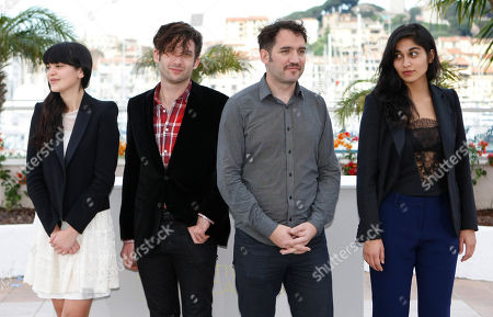 Stock Image of Nathalia Galgani, Diego Noguera, Cristian Jimenezl, Gabriela Arancibia Director Cristian Jimenez, second from right, with actors, from left, Nathalia Galgani, Diego Noguera and Gabriela Arancibia pose during a photo call for Bonsai at the 64th international film festival, in Cannes, southern France