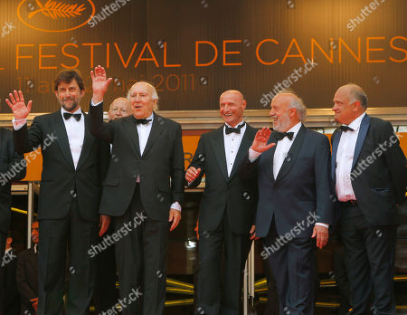 Nanni Moretti, Michel Piccoli, Dario Cantarelli, Renato Scarpa,Teco Celio From left, director Nanni Moretti, actors Michel Piccoli, Dario Cantarelli, Renato Scarpa and Teco Celio pose at the top of the red carpet for the screening of Habemus Papam at the 64th international film festival, in Cannes, southern France