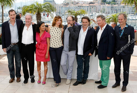 Samuel Labarthe, Bernard Le Coq, Saida Jawad, Florence Pernel, Denis Podalydes, Xavier Durringer, Patrick Rotman, Hippolyte Girardot From left, actors Samuel Labarthe, Bernard Le Coq, Saida Jawad, Florence Pernel, Denis Podalydes, director Xavier Durringer, Patrick Rotman and Hippolyte Girardot pose during a photo call for La Conquete, at the 64th international film festival, in Cannes, southern France