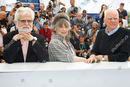Jan Harlan, Christiane Kubrick, Malcom McDowell From left, producer Jan Harlan, actress Christiane Kubrick and actor Malcom McDowell pose during a Cinema Masterclass photo call at the 64th international film festival, in Cannes, southern France