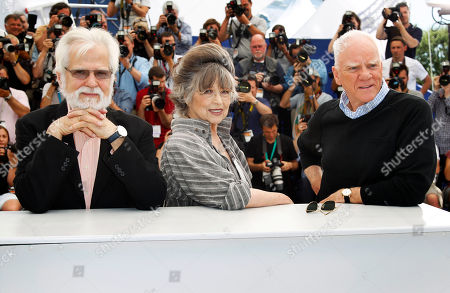 Jan Harlan, Christiane Kubrick, Malcom McDowell From, left, producer Jan Harlan, actress and widow of director Stanley Kubrick, Christiane Kubrick, and actor Malcom McDowell pose during a Cinema Masterclass photo call at the 64th international film festival, in Cannes, southern France