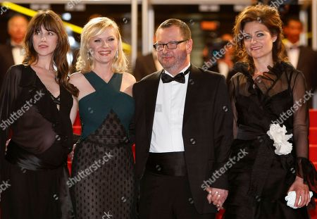 Charlotte Gainsbourg, Kirsten Dunst, Lars Von Trier, Bente Froge From left, actresses Charlotte Gainsbourg, Kirsten Dunst, director Lars Von Trier and his wife Bente Froge arrive for the screening of Melancholia at the 64th international film festival, in Cannes, southern France