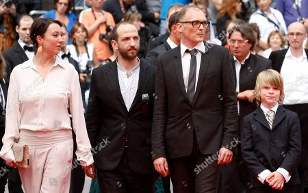 Ursula Strauss, Michael Fuith, Markus Schleinzer, David Rauchenberger Director Markus Schleinzer, second from right, arrives with actors, from left, Ursula Strauss, Michael Fuith and David Rauchenberger for the screening of Michael, at the 64th international film festival, in Cannes, southern France