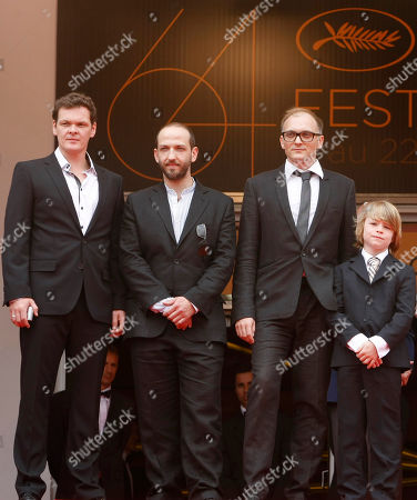 Viktor Tremmel, Michael Fuith, Markus Schleinzer, David Rauchenberger Director Markus Schleinzer, second from right, arrives with actors, from left, Viktor Tremmel, Michael Fuith and David Rauchenberger for the screening of Michael, at the 64th international film festival, in Cannes, southern France