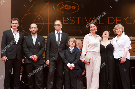 Viktor Tremmel, Michael Fuith, Markus Schleinzer, David Rauchenberger, Ursula Strauss, Gisella Salcher, Christine Kain Director Markus Schleinzer, third from left, arrives with actors, from left, Viktor Tremmel, Michael Fuith, David Rauchenberger, Ursula Strauss, Gisella Salcher and Christine Kain for the screening of Michael, at the 64th international film festival, in Cannes, southern France