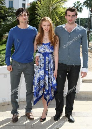 "From left to right, British actor Mark Ryder, German actress Isolda Dychauk and French actor Stanley Weber pose during the MIPTV, International Television Programme Market, in Cannes, southern France. They presented the TV series ""Borgia"