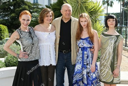 "From left to right, German actor Andrea Sawatzki, Spanish actress Assumpta Serna, US actor John Doman, German actress Isolda Dychauk and Italian actress Marta Gastini, pose during the MIPTV, International Television Programme Market, in Cannes, southern France. They presented the TV series ""Borgia"
