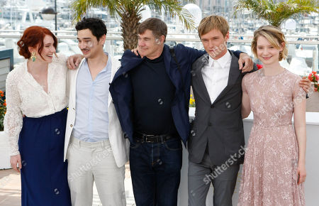 Bryce Dallas Howard, Jason Lew, Gus Van Sant, Henry Hopper, Mia Wasikowska From left, producer Bryce Dallas Howard, screenwriter Jason Lew, director Gus Van Sant, and actors Henry Hopper and Mia Wasikowska pose during a photo call for Restless, at the 64th international film festival, in Cannes, southern France