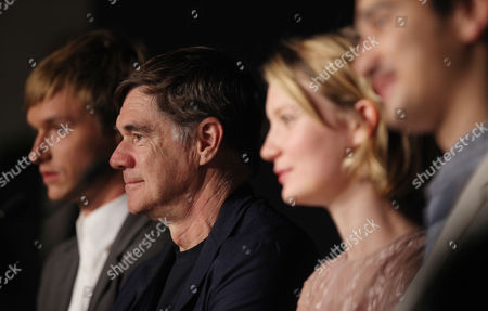 Henry Hopper, Gus Van Sant, Mia Wasikowska, Jason Lew From left, actor Henry Hopper, director Gus Van Sant, Mia Wasikowska and screenwriter Jason Lew attend a press conference, at the 64th international film festival, in Cannes, southern France