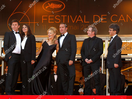 Michel Hazanavicius, Berenice Bejo, Missi Pyle, Jean Dujardin, Guillame Schiffman, Thomas Langmann From left, director Michel Hazanavicius, actors Berenice Bejo, Missi Pyle, Jean Dujardin, cinematographer Guillaume Schiffman and producer Thomas Langmann arrive for the screening of The Artist at the 64th international film festival, in Cannes, southern France
