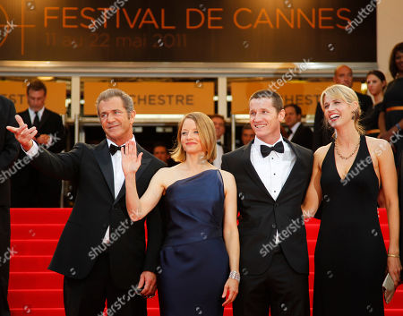 Mel Gibson, Jodie Foster, Kyle Killen, Allen From left, actor Mel Gibson, director Jodie Foster, screenwriter Kyle Killen and his wife Laura Allen arrive for the screening of The Beaver at the 64th international film festival, in Cannes, southern France