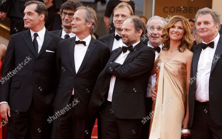 Samuel Labarthe, Hippolyte Girardot, Denis Podalydes, Florence Pernel, Patrick Rotman From left, actors Samuel Labarthe, Hippolyte Girardot, Denis Podalydes, Florence Pernel and screenwriter Patrick Rotman arrive for the screening of The Conquest at the 64th international film festival, in Cannes, southern France
