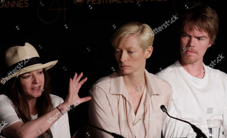 Tilda Swinton, Rory Stewary From left, Scottish director Lynn Ramsay, actors Tilda Swinton and Rory Stewart Kinnear answer questions during a press conference for We Need to Talk About Kevin, at the 64th international film festival, in Cannes, southern France