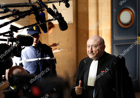 Stock Photo of Georges Kiejman French lawyer Georges Kiejman answers journalists at the Paris courthouse, . A Paris judge has delayed a historic trial in which former French President Jacques Chirac is accused of corruption, suspending proceedings until June because of a complaint by defense lawyers
