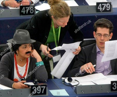 Franziska Brantner Green European Parliament member Karima Delli, of France, dressed as a man wearing a hat and a moustache, attends the European Parliament session, in Strasbourg, eastern France, . Several women members of parliament, dressed as men, were asking for equal pay for men and women on International Woman's Day