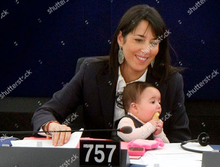 Licia Ronzulli Member of European Parliament Licia Ronzulli of Italy holds her baby, as she attends the session of the European Parliament in Strasbourg eastern France, on International Women's Day