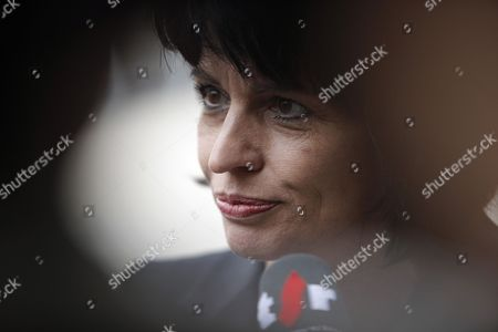 Doris Leuthard Swiss Federal Councilor Doris Leuthard answers to reporters prior to a meeting with France's Industry Minister Eric Besson, unseen, in Paris